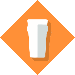 Pint glass icon on orange background