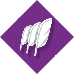 Icon of three feathers infront of a purple background