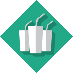 Icons of 3 drink cups infront of a teal background