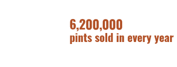Arrow pointing left stating 1,400,000 pints sold in 2019