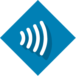Near field communication logo on blue background